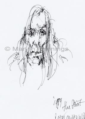 Iggy Pop leest voor uit Houellebecq III, pen en inkt, A4, '17 - Marjan Pennings