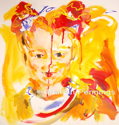 Portret van meisje met rode knotjes, '13, 65 x 50 cm , acryl op doek, Marjan Pennings