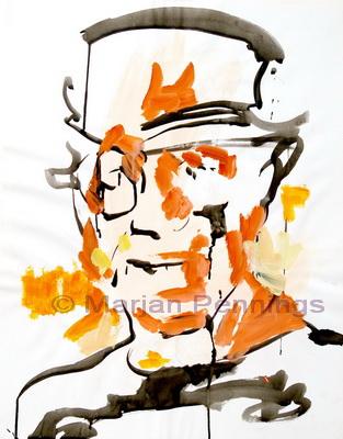 Man met hoed, 65 x 50 cm, inkt op papier, Marjan Pennings