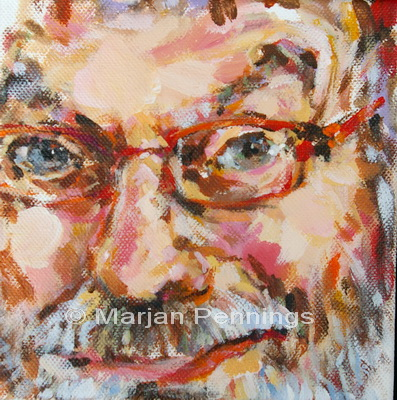 Portret van een man, met bijzondere uitsnijding, acryl op doek, 15 x 15 cm, Marjan Pennings