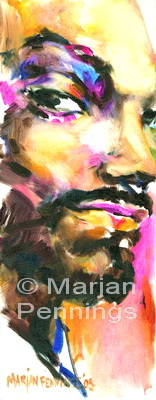 Portret van een rapper, acryl op doek, 50 x 20 cm, Marjan Pennings