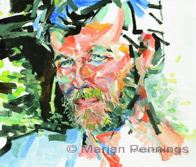 Portret in de tuin, acryl op plaat, 70 x 80 cm, '82, Marjan Pennings