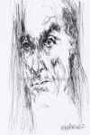 Iggy Pop leest voor uit Houellebecq I, pen en inkt, A4, '17 - Marjan Pennings