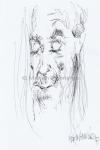 Iggy Pop leest voor uit Houellebecq II, pen en inkt, A4, '17 - Marjan Pennings