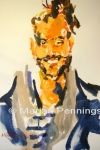 Portret van een tekenaar, acryl op doek, '13, 65 x 50 cm, Marjan Pennings