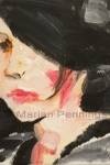 Anna met flaphoed, acryl op doek, 15 15 cm, Marjan Pennings