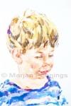 Portret van jong kind, acryl op doek, Marjan Pennings