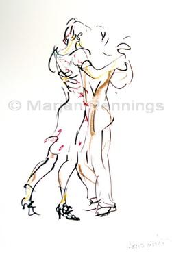 Tango live getekend A3 en A4 formaat Marjan Pennings