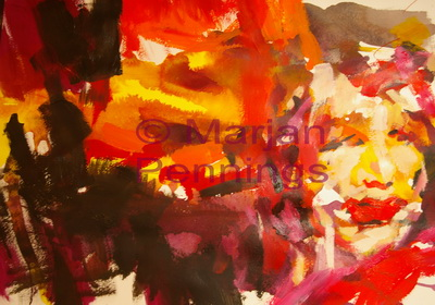 Valentijn, acryl, 70 x 55 cm - Marjan Pennings