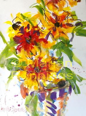 Rudbeckia's in pot - 50x60 - '14 - Marjan Pennings