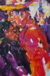 Enkele trouwe bezoekers, altijd aan het dansen, acryl op doek 65 x 50 Marjan Pennings