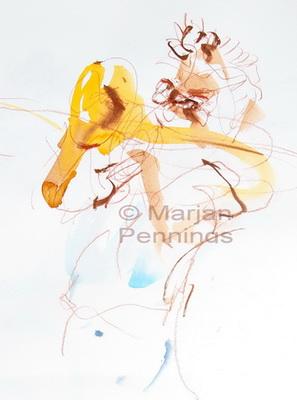 Making music, 65 x 50 cm - Marjan Pennings