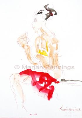 Even pauze, 50 x 35 cm - Marjan Pennings