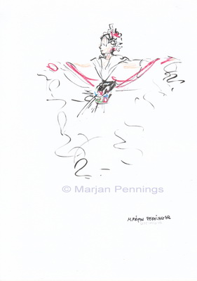Dias Latinos, Dancer with white dress, A4 - Marjan Pennings